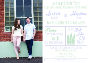 Lauren and Hayden wedding invite front