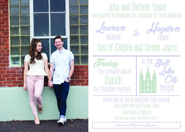 Lauren and Hayden wedding invite front