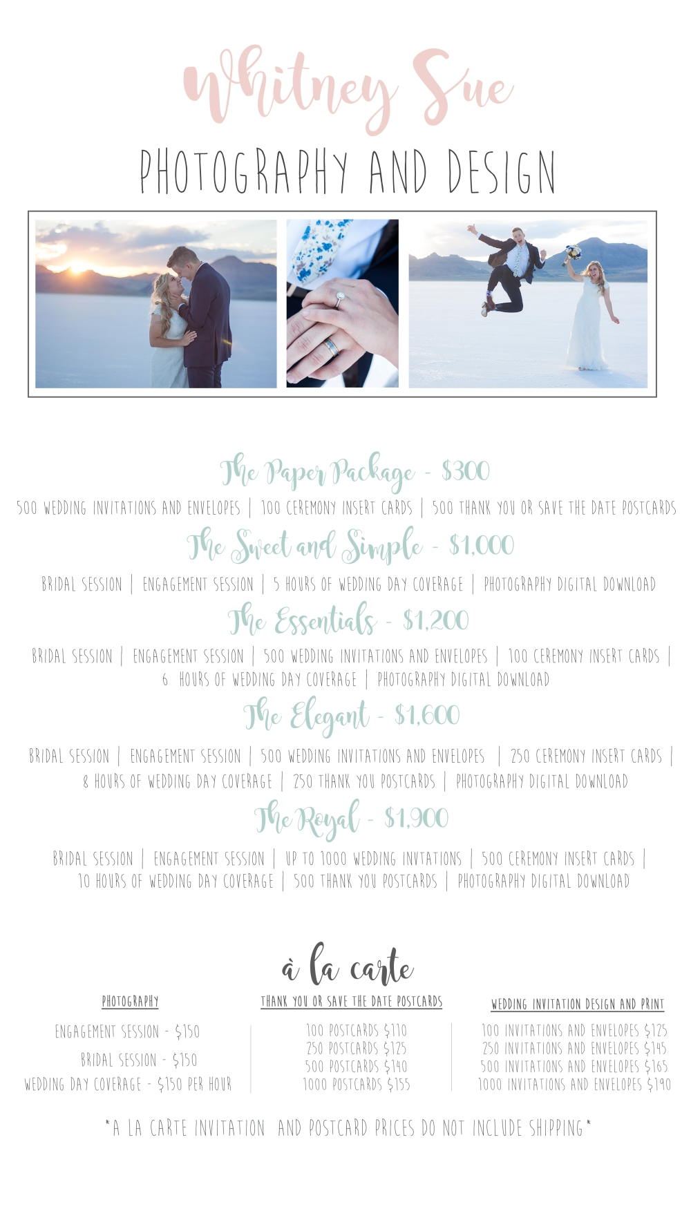 Wedding Design and Photography Prices